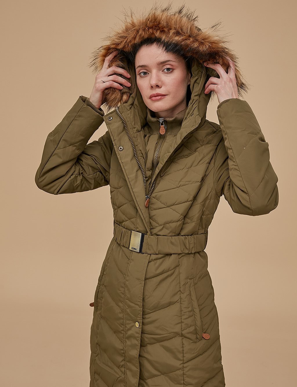 Goose-Quill Coat Kahki A8 27004