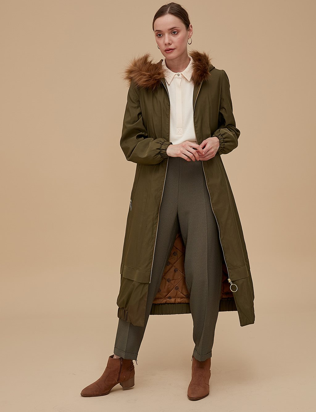 Coat With Zipper A9 24008 Green