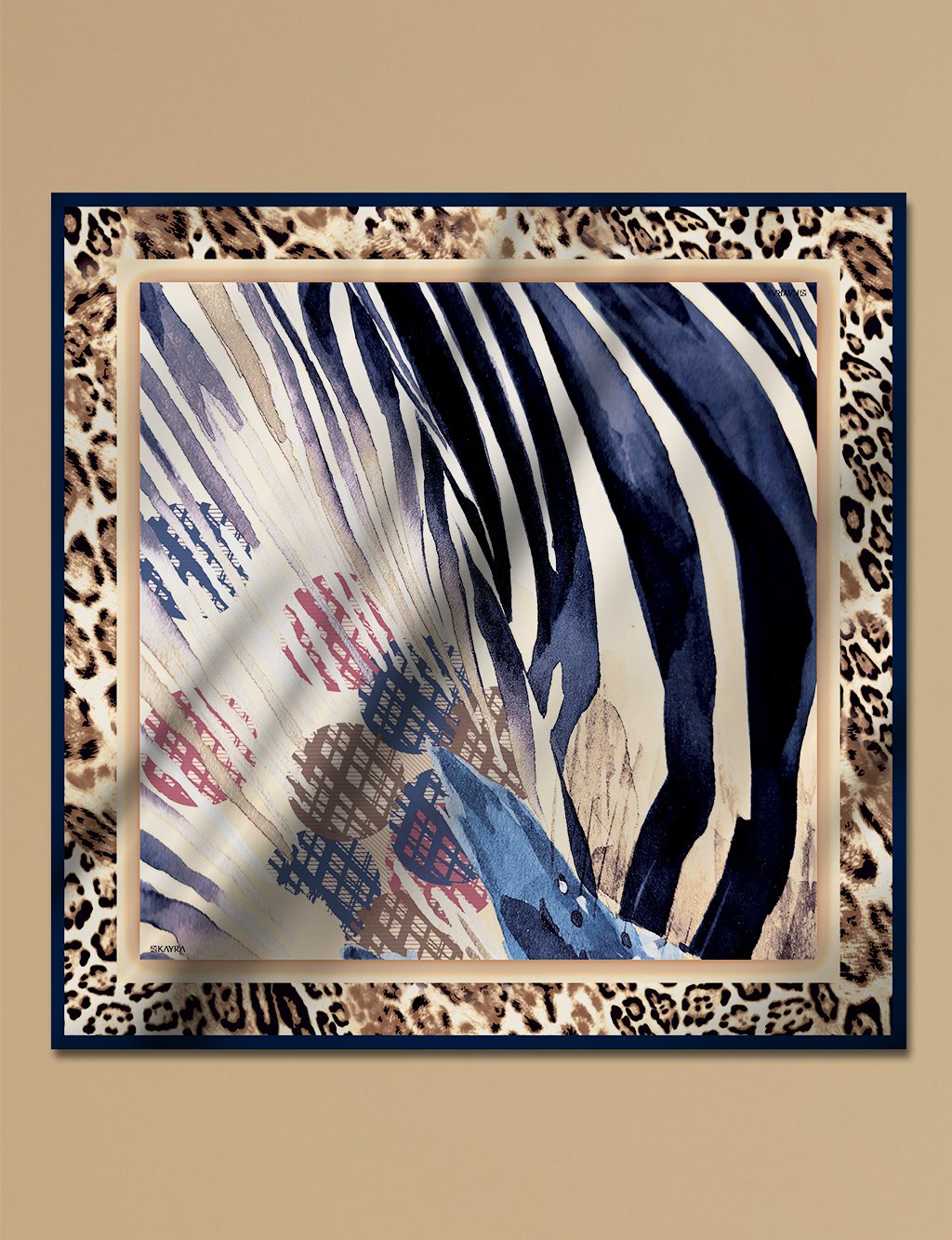 Animal Print Twill İpek Eşarp A9 ESP17 Bej