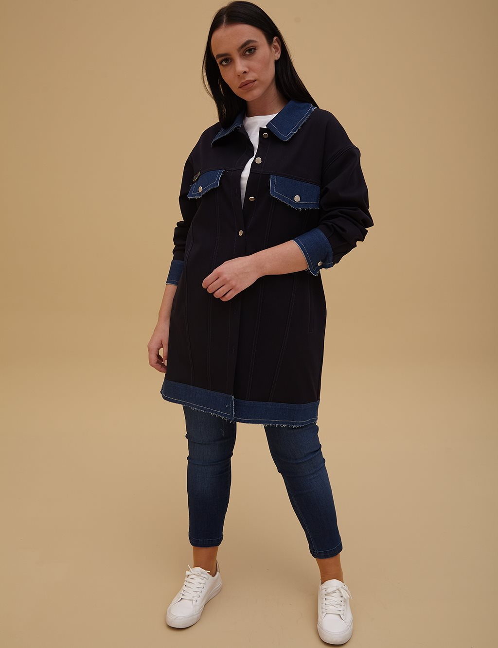 Denim Detailed Jacket A9 13078 Navy
