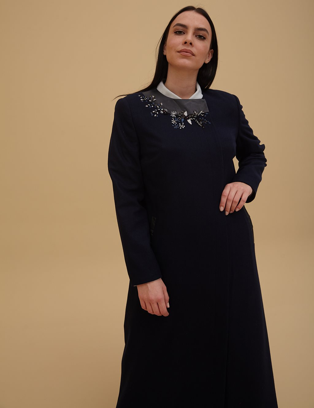 Embroidered Coat A9 25006 Navy