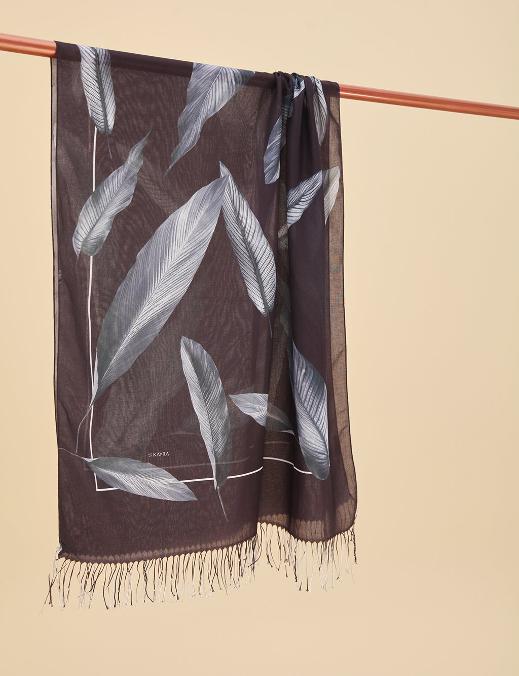 Leaf Patterned Cotton Shawl A9 SAL12 Black