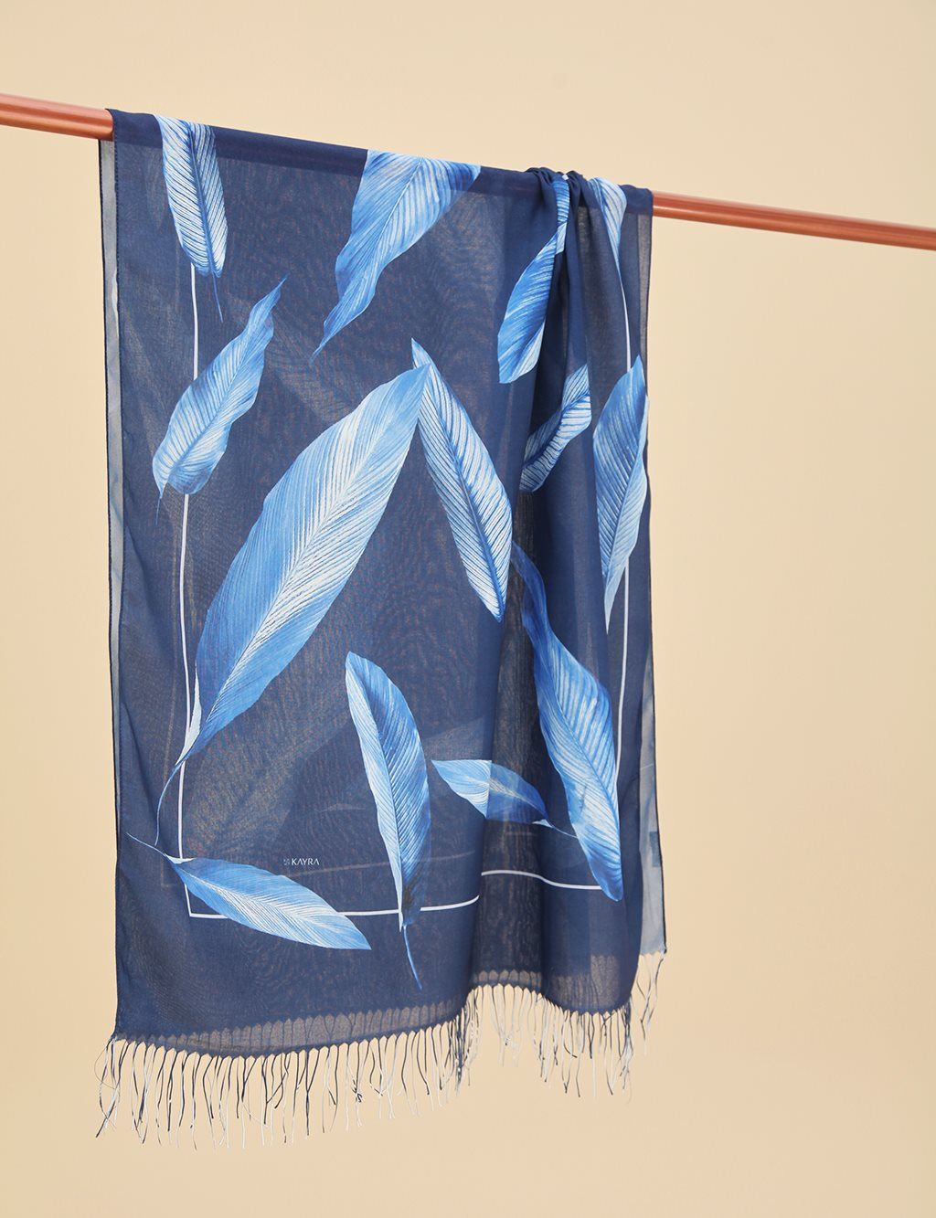 Leaf Patterned Cotton Shawl A9 SAL12 Navy