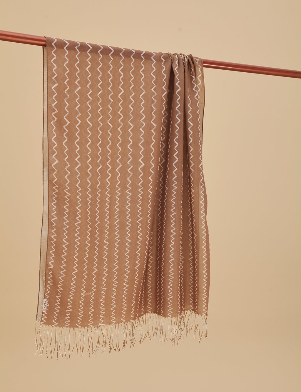 Zigzag Patterned Cotton Shawl A9 SAL15 Beige