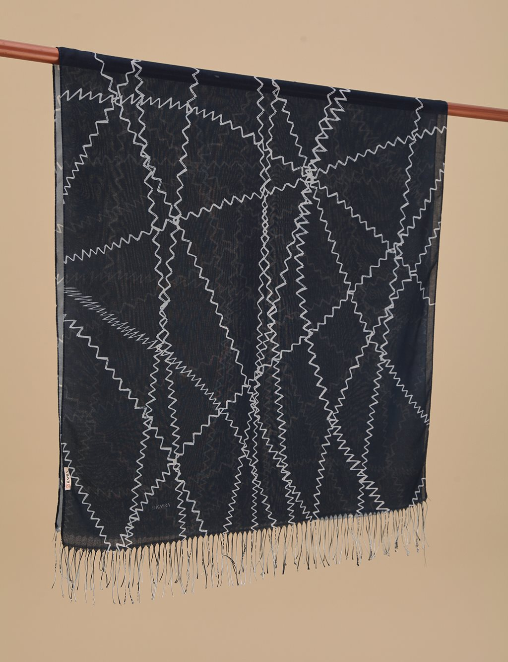 Geometric Patterned Cotton Shawl A9 SAL13 Navy