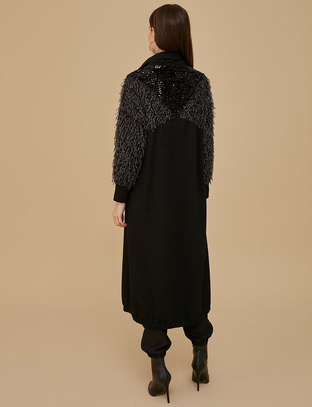 Sequin Detailed Overcoat A9 25025 Black