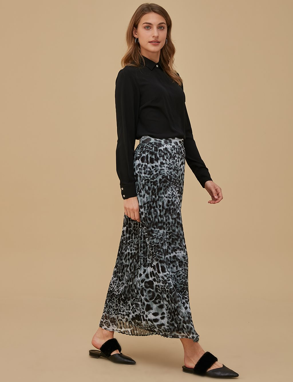 Pleated Leopard Skirt A9 12052 Black