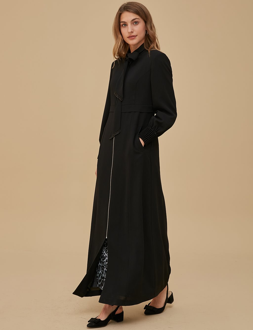 Detailed Overcoat A9 15043 Black