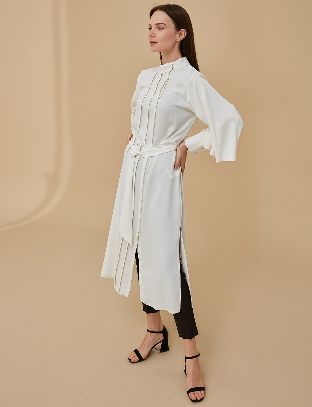 Tunic Dress With Belt A9 21125A Ecru