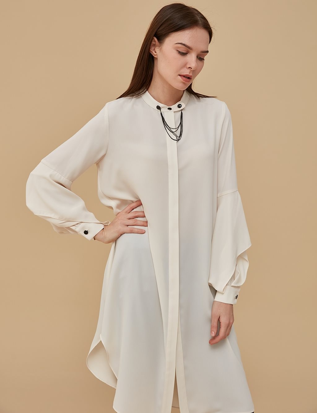 Ruffle Detailed Sleeve Tunic A9 21126 Cream