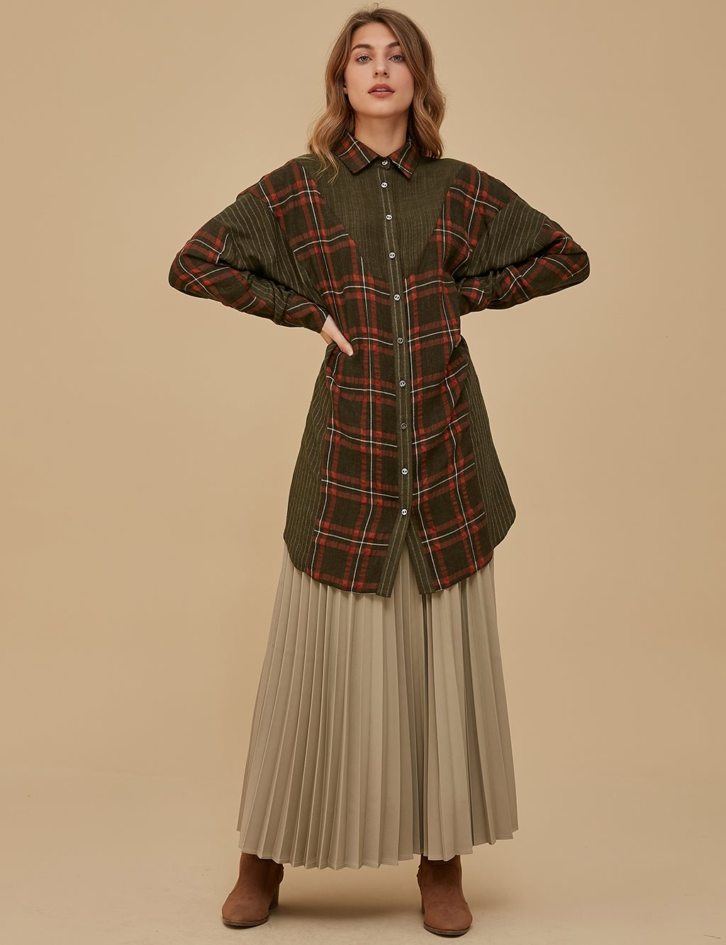 Checkered Sleeve Detailed Tunic A9 21268 Khaki