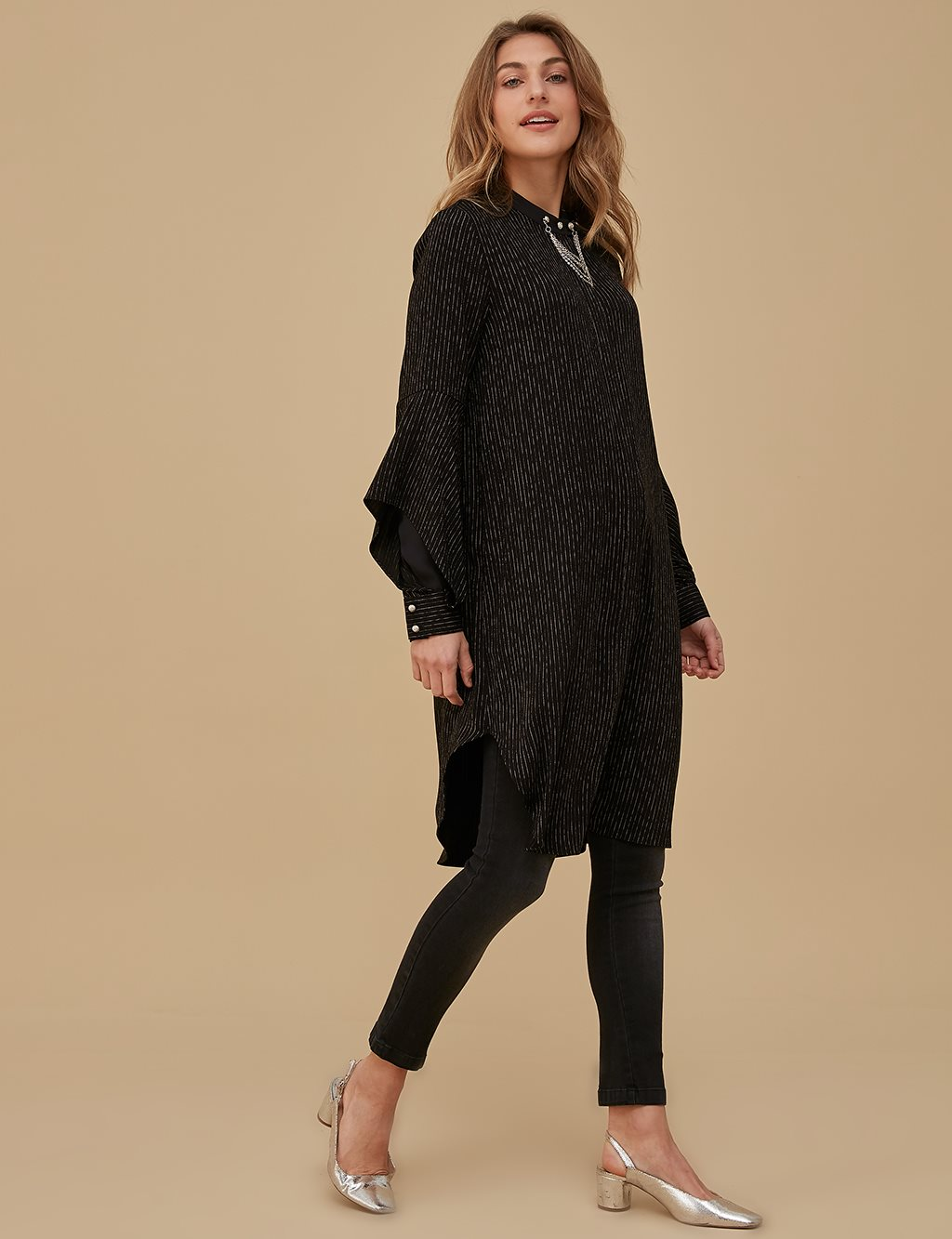 Striped Balloon Sleeve Tunic A9 21291 Black