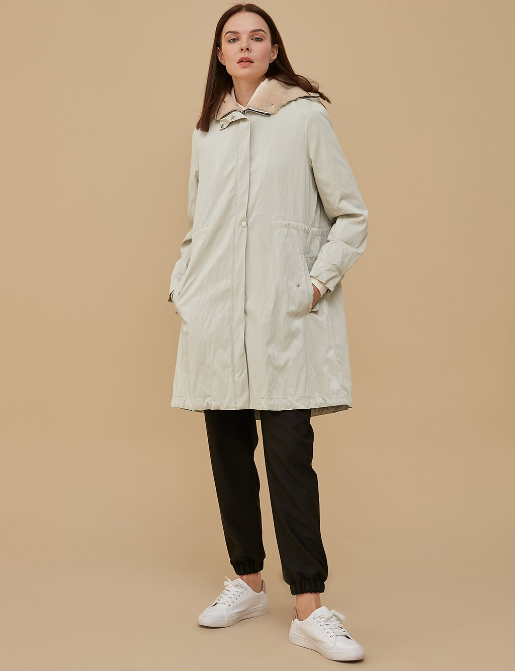 Ruched Oversize Coat A9 24004 Ecru