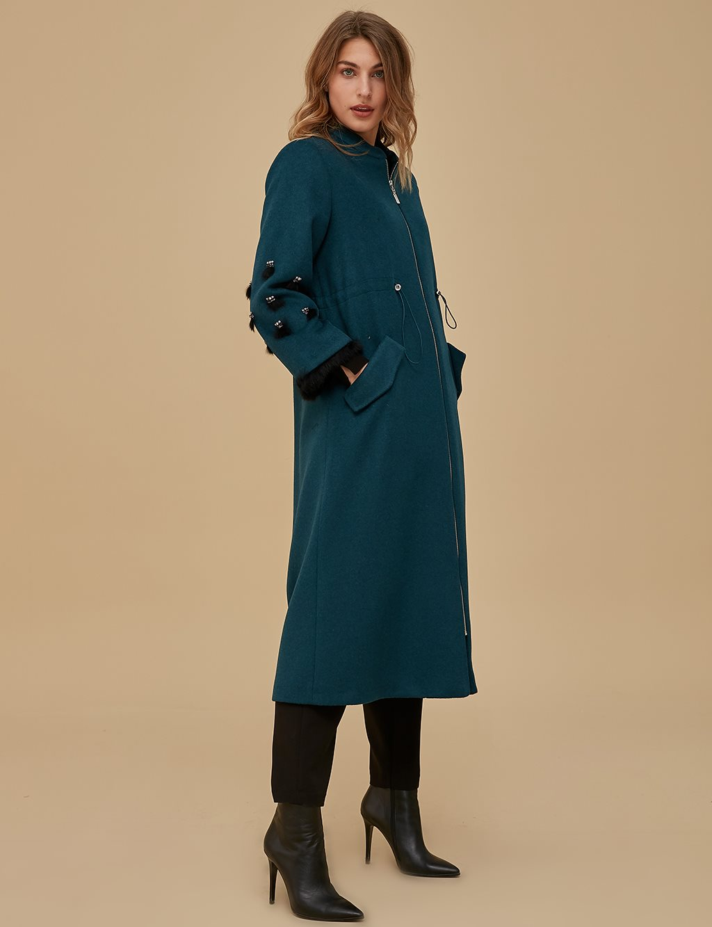 Ruched Coat A9 25080 Indigo