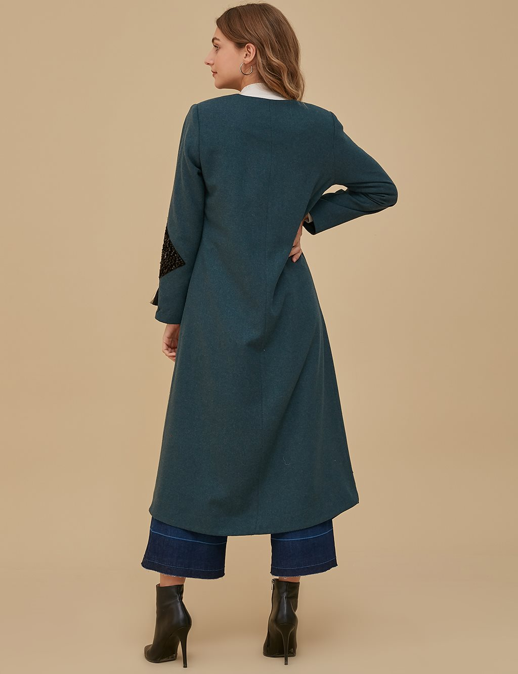 Sleeve Detailed Overcoat A9 25083 Petrol