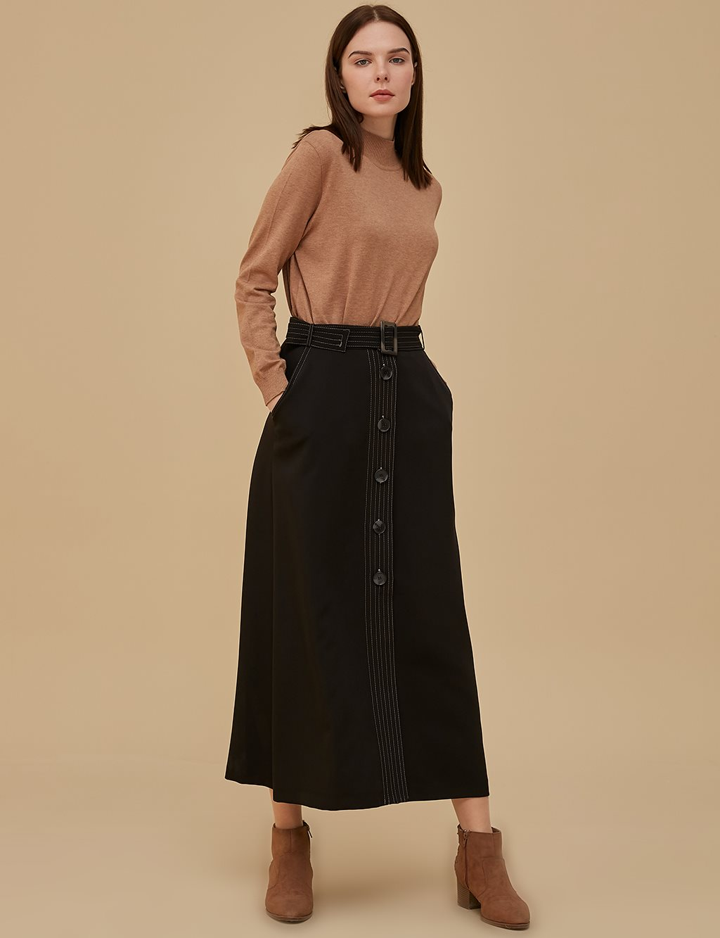 Skirt With Button Details A9 12060 Black