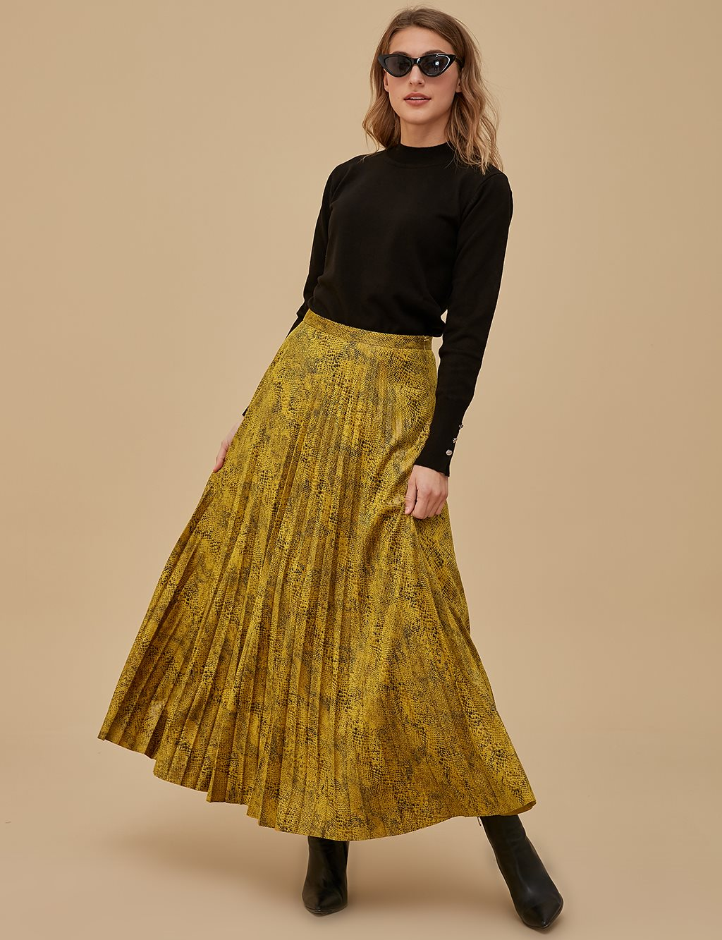 Artificial Leather Skirt A9 12061 Mustard