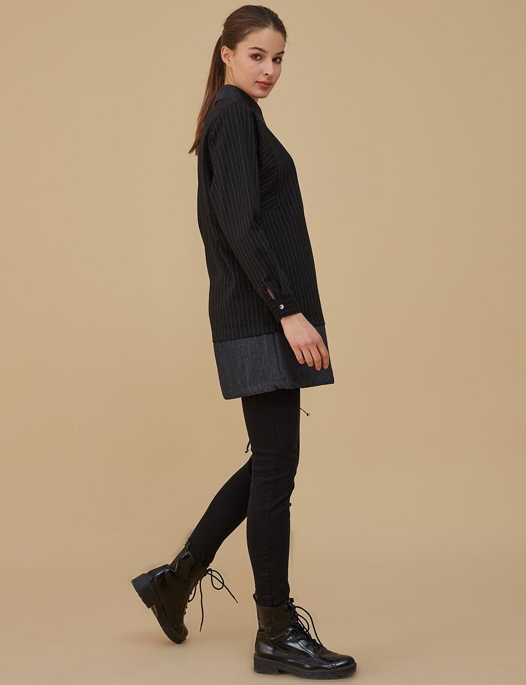 Ruched Shirt With Pocket Detailed A9 11020 Black