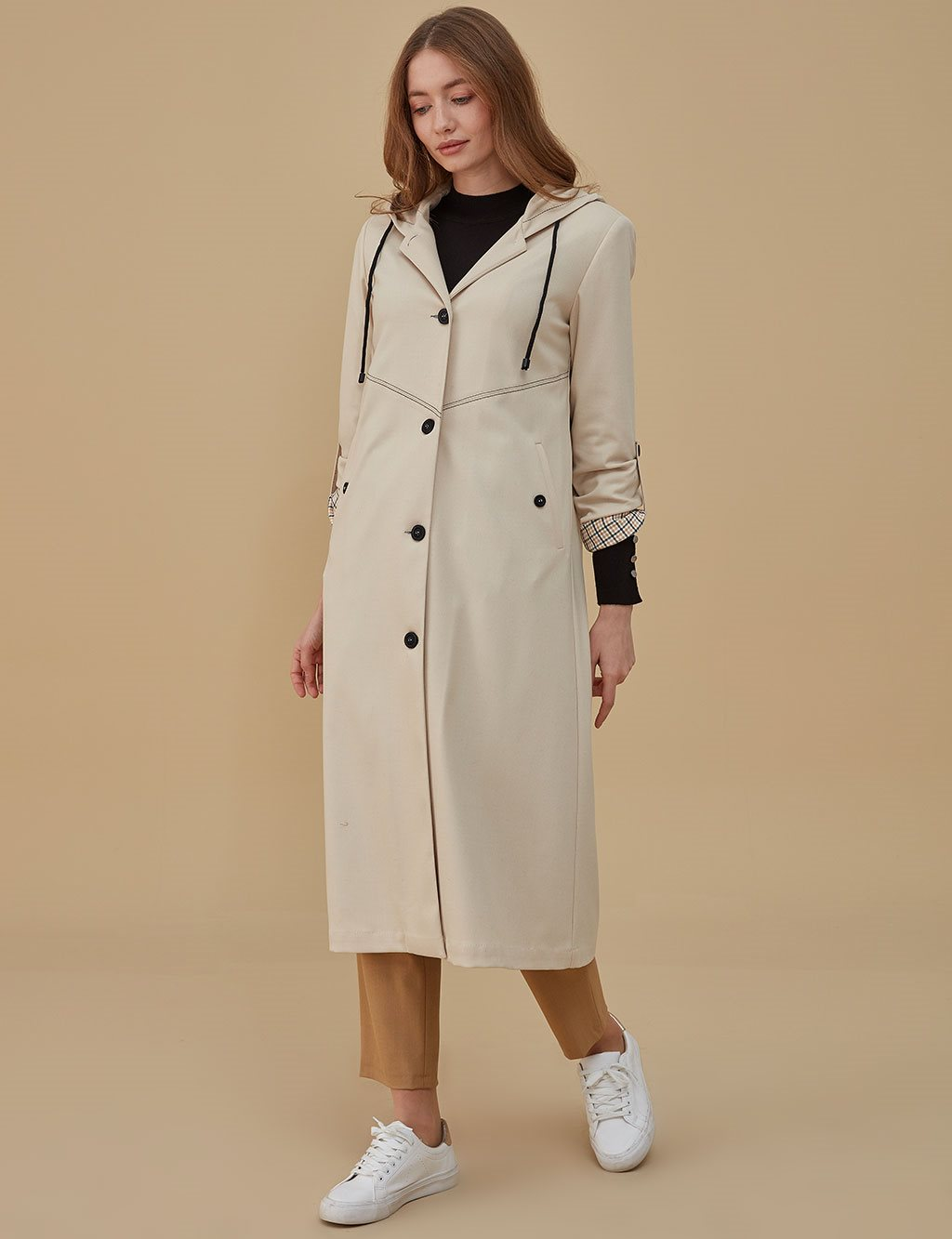 Coat With Hood A9 17075 Cream