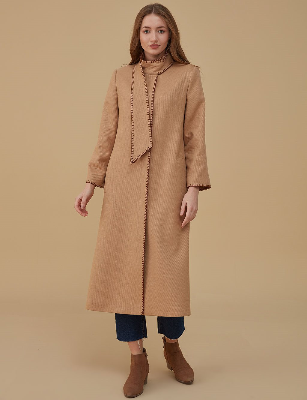 Collar Detailed Coat A9 17076 Beige