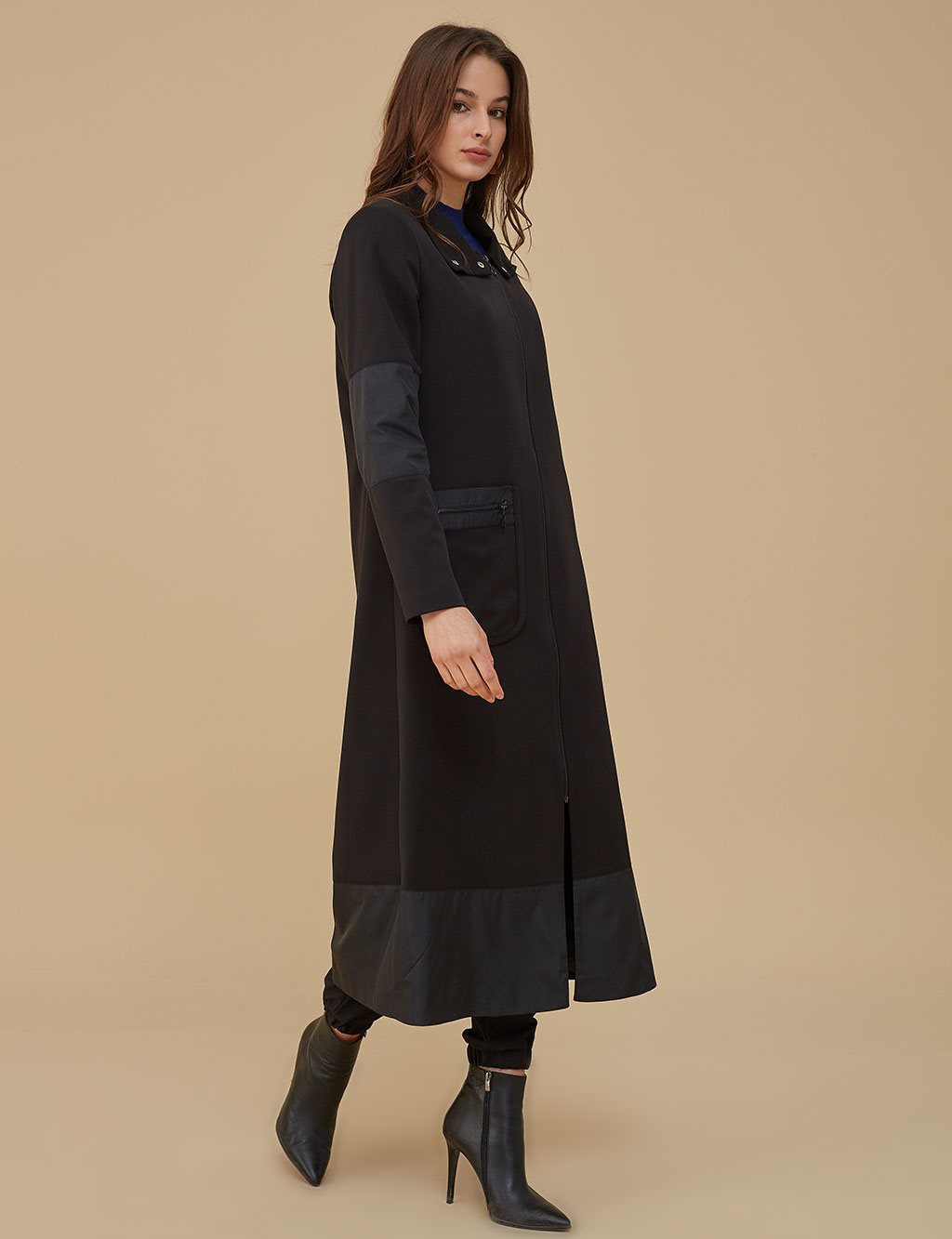 Pocket Detailed Coat With Zipper A9 17082 Black