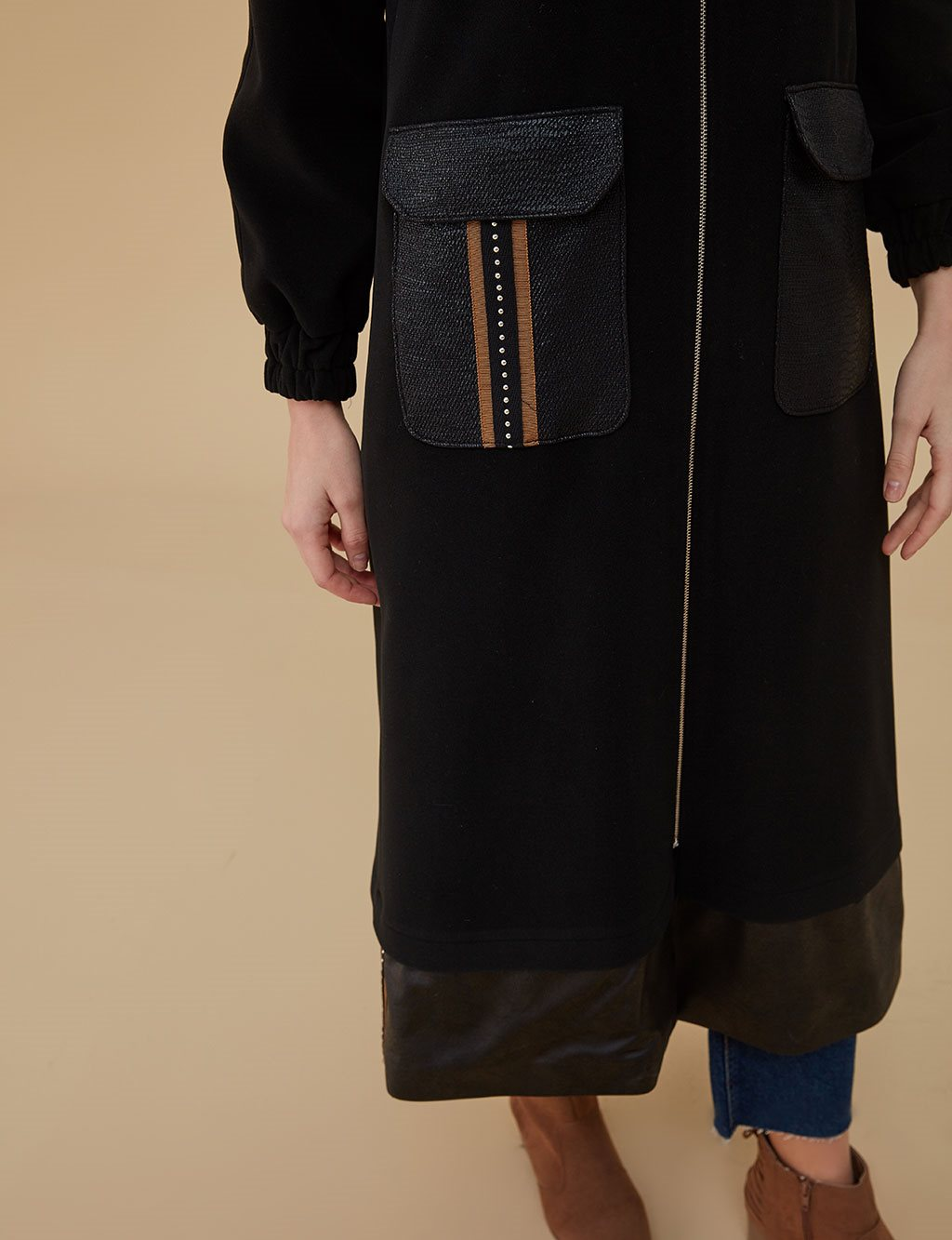 Coat With Hood A9 17084 Black
