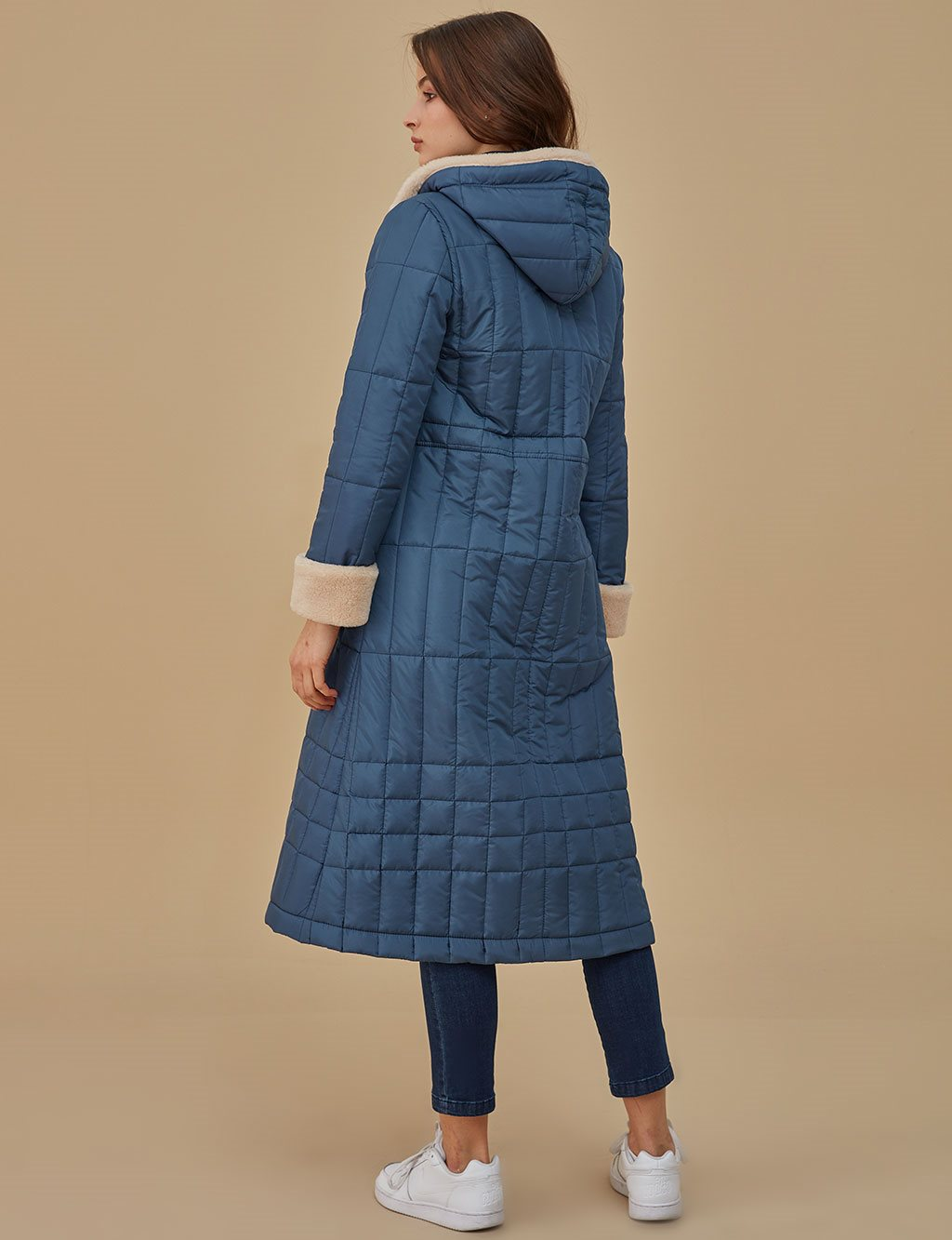 Furry Detailed Quilted Coat A9 17086 Indigo