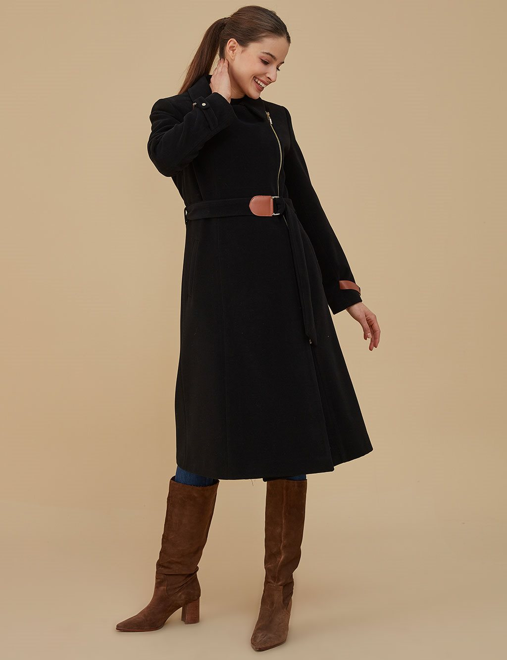 Coat With Zipper A9 17088 Black
