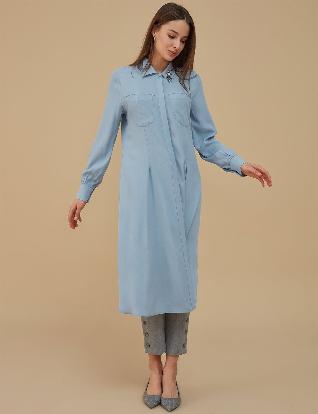 Collar Detailed Tunic A9 21152 Blue