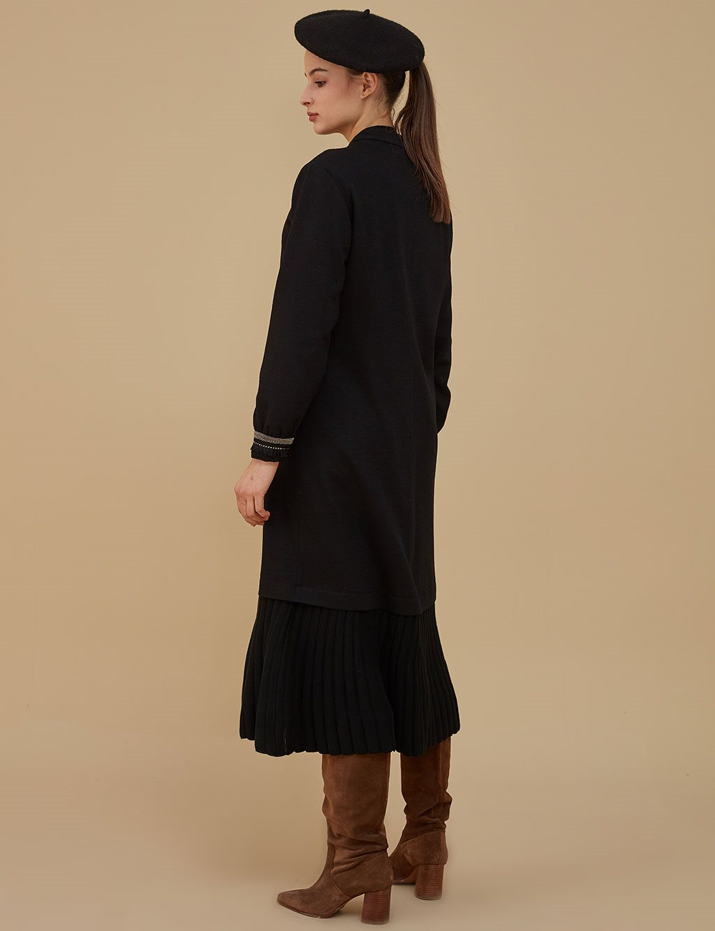 Sleeve Detailed Coat A9 25091 Black