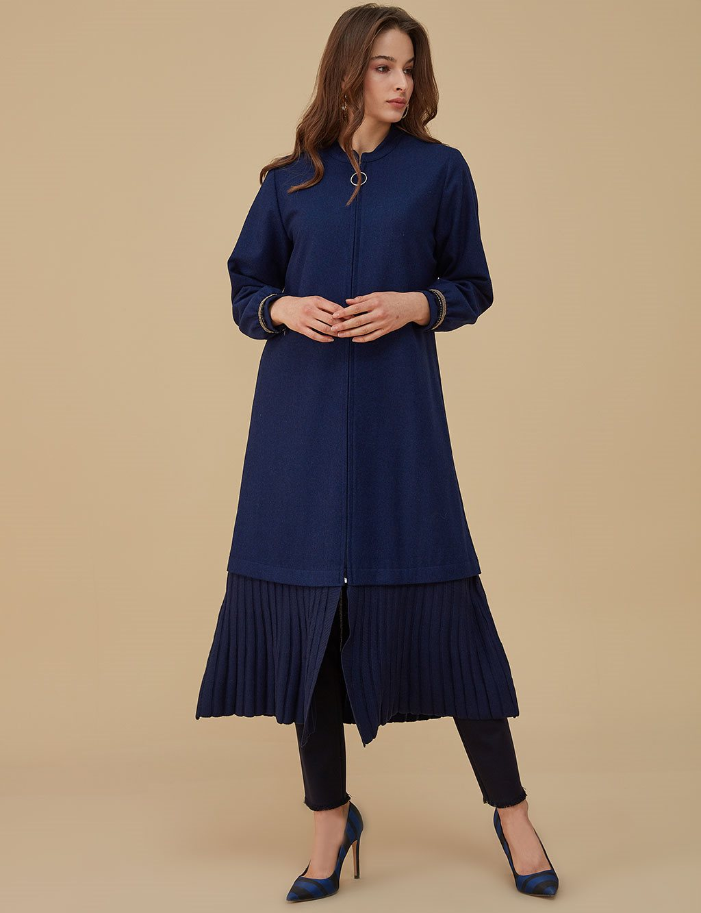 Sleeve Detailed Coat A9 25091 Saxe