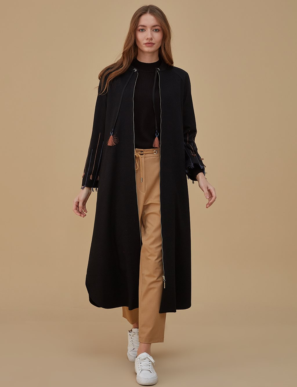 Sleeve Detailed Overcoat A9 25117 Black