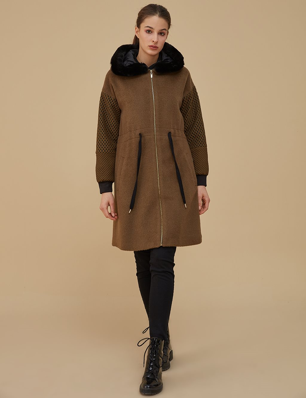 Ruched Coat With Furry Detail A9 77007 Khaki