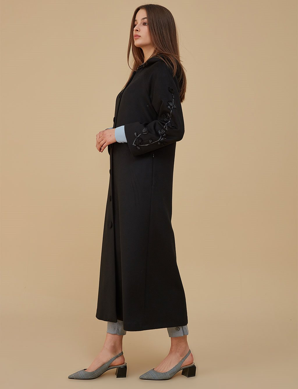 Embroidered Coat With Hood A9 17081 Black