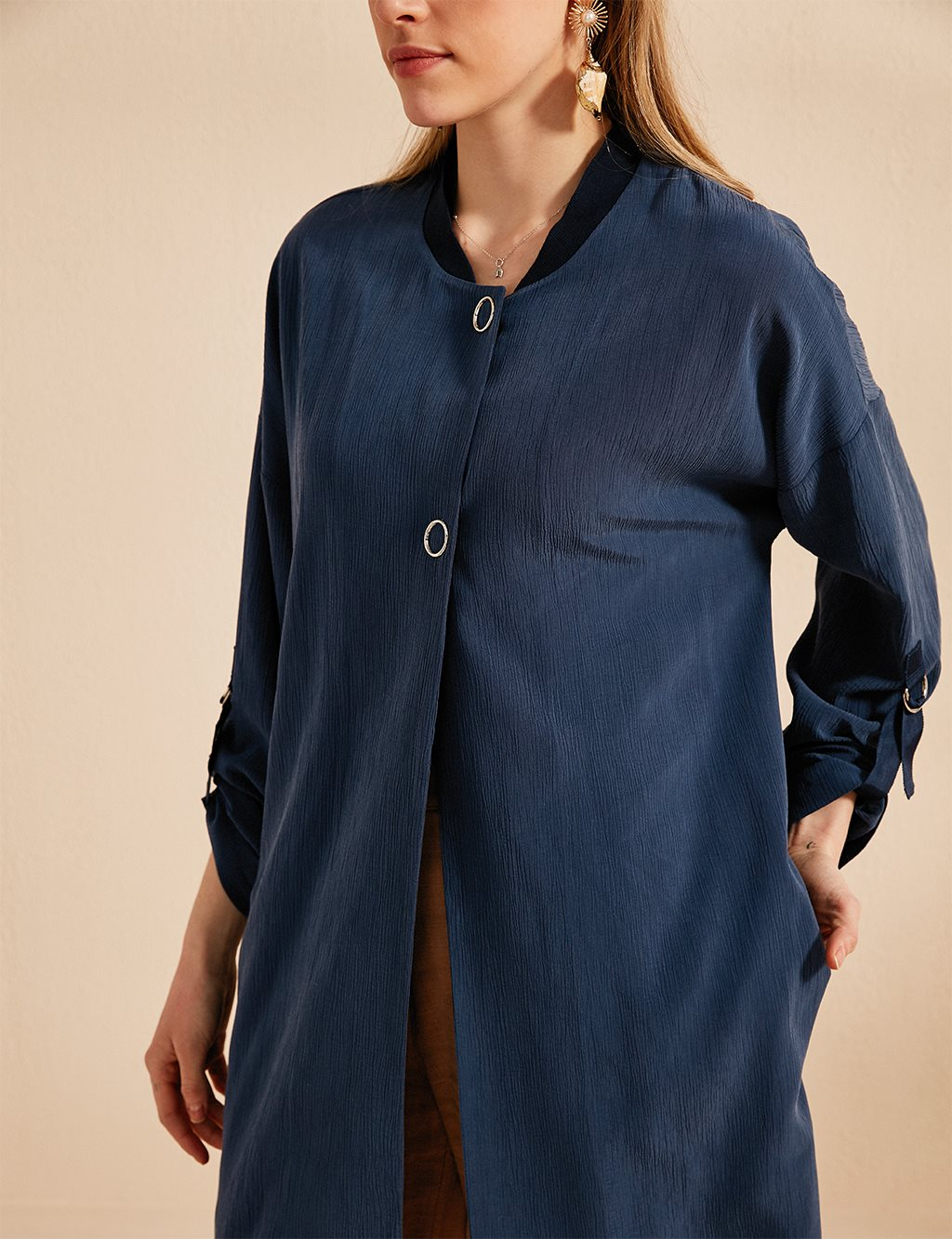 Jacket With Button Details B20 13009 Indigo
