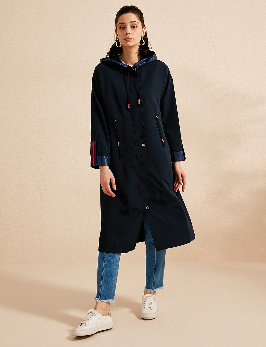 Trenchcoat With Hood B20 14013 Navy