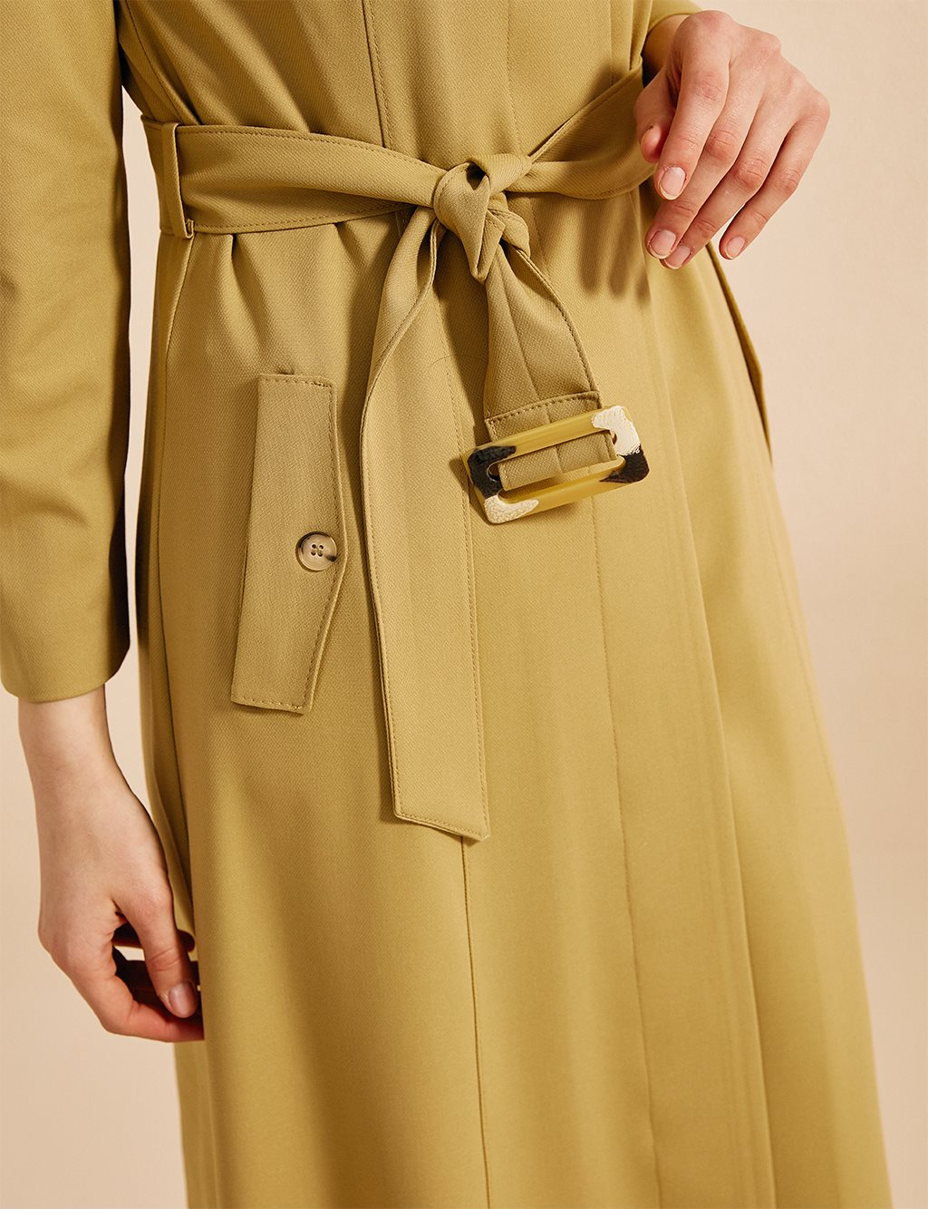Belt Detailed Overcoat Oliv B20 15017