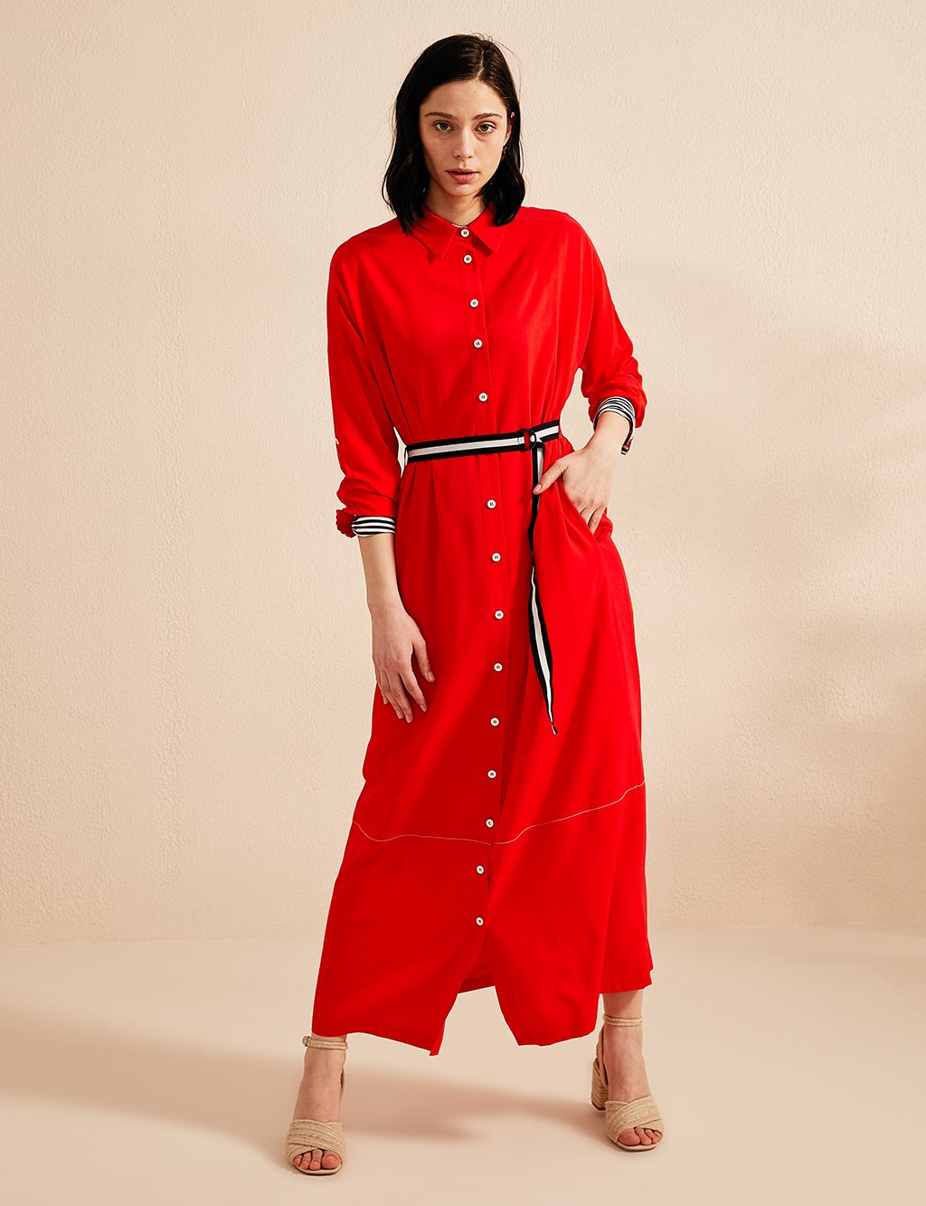 Detailed Dress With Belt B20 23027 Red