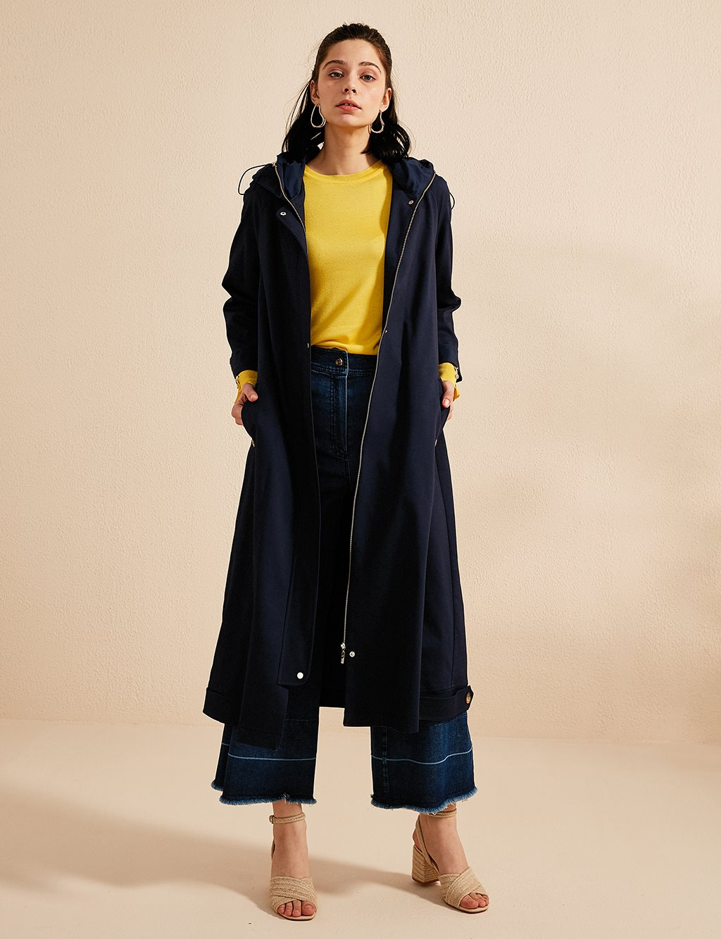 Coat With Hood and Zipper B20 25002 Navy