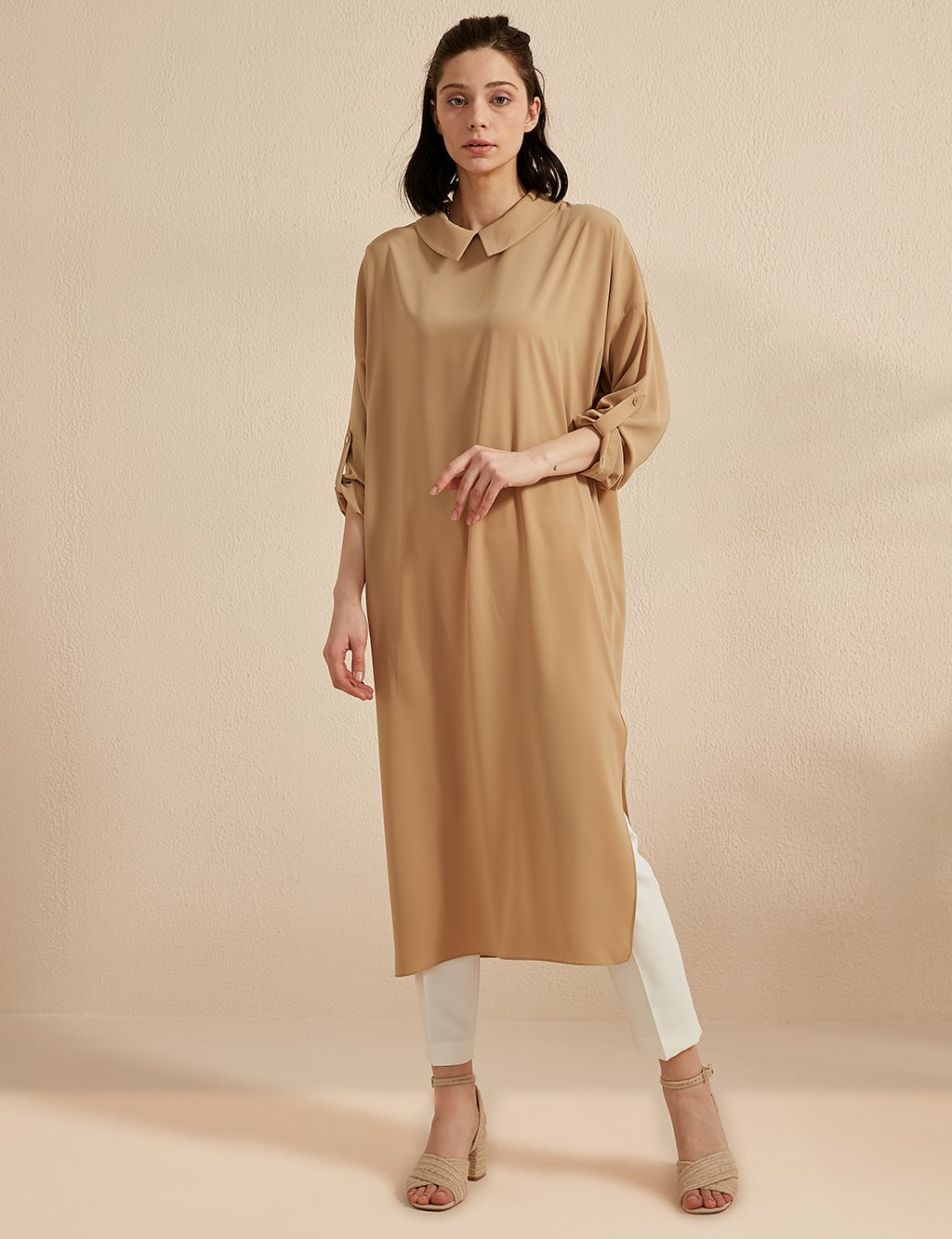 Basic Tunic Dress Beige SZ 21503