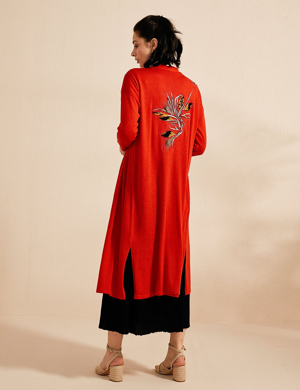 Embroidered Knitwear Cardigan B20 TRK01 Red