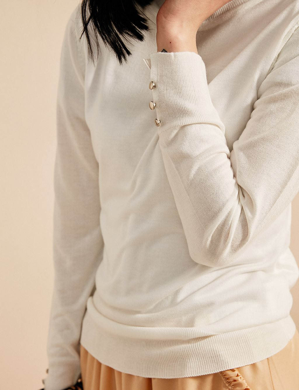 Button Detailed Knitwear Blouse B20 TRK05 Ecru