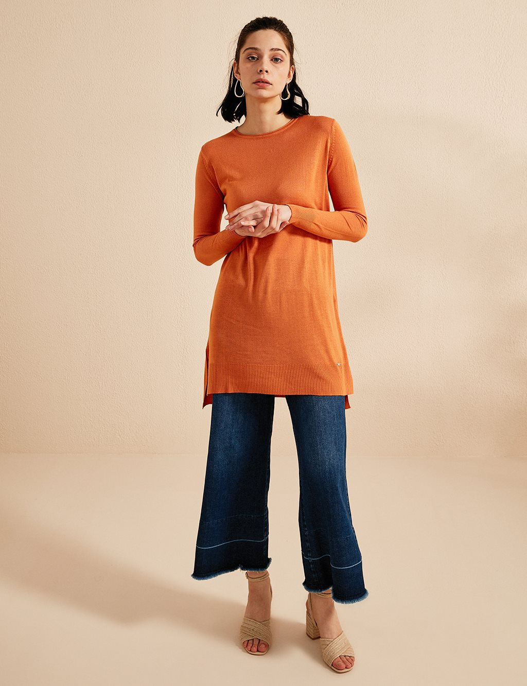 Wide Collar Knitwear Tunic B20 TRK14 Orange
