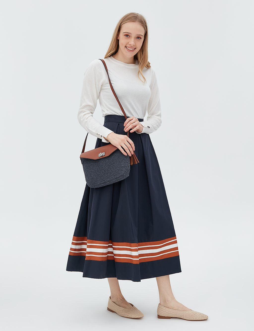Striped Skirt B20 12026 Navy