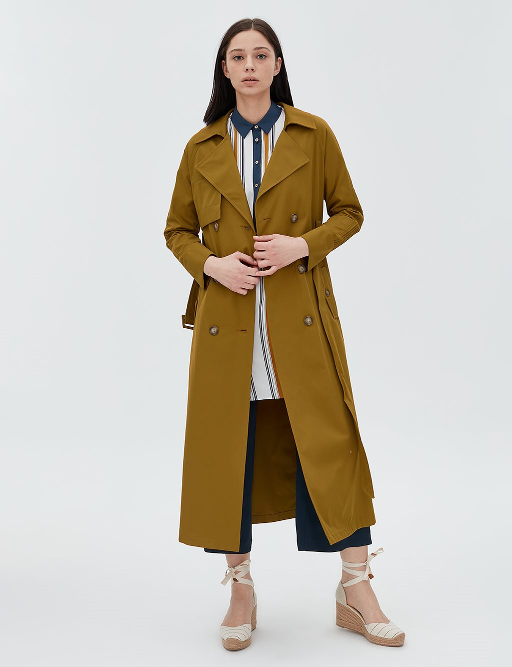 Trenchcoat With Belt B20 14011 Olive