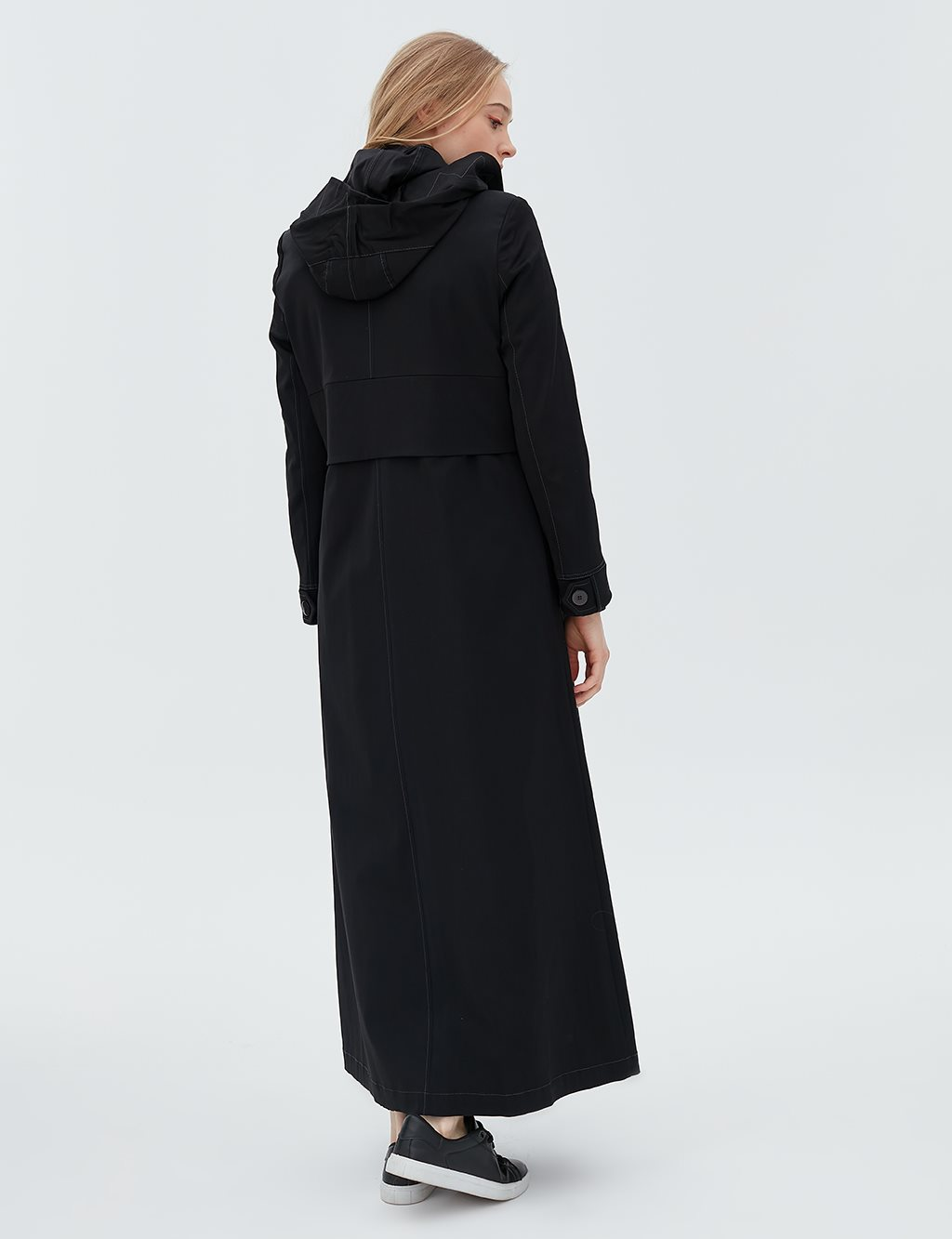 Detailed Overcoat With Hood B20 15014 Black