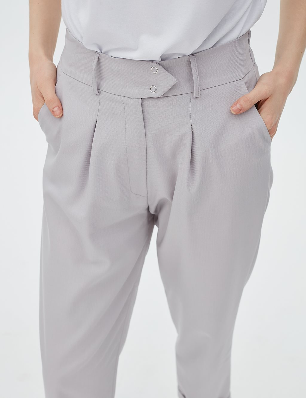 Elastic Pleated Pants B20 19027 Grey