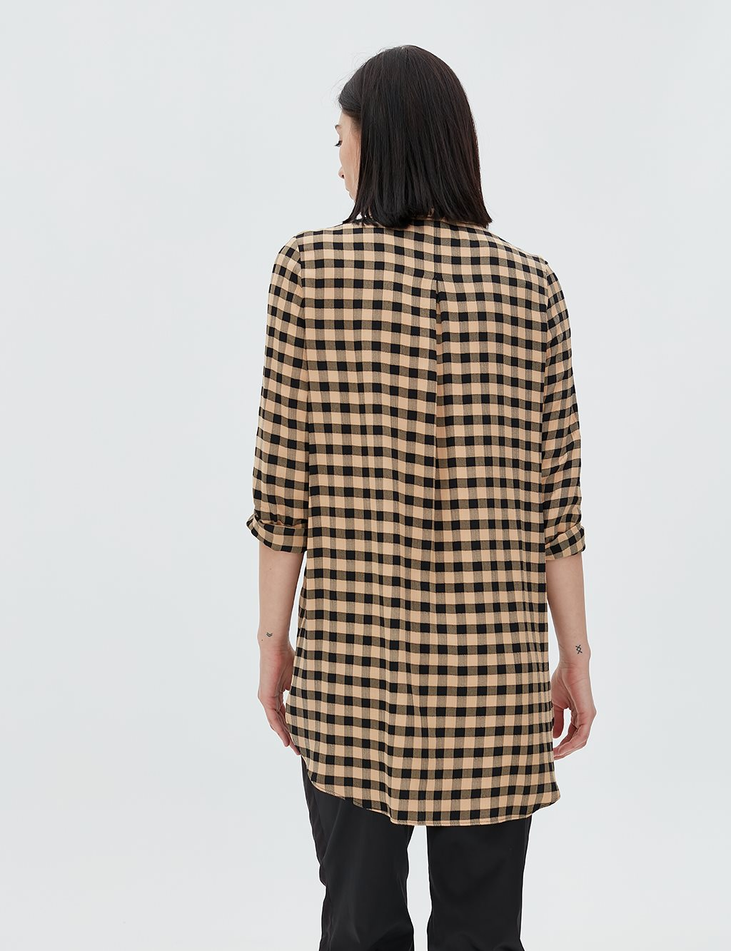 Checked Tunic B20 21054 Beige