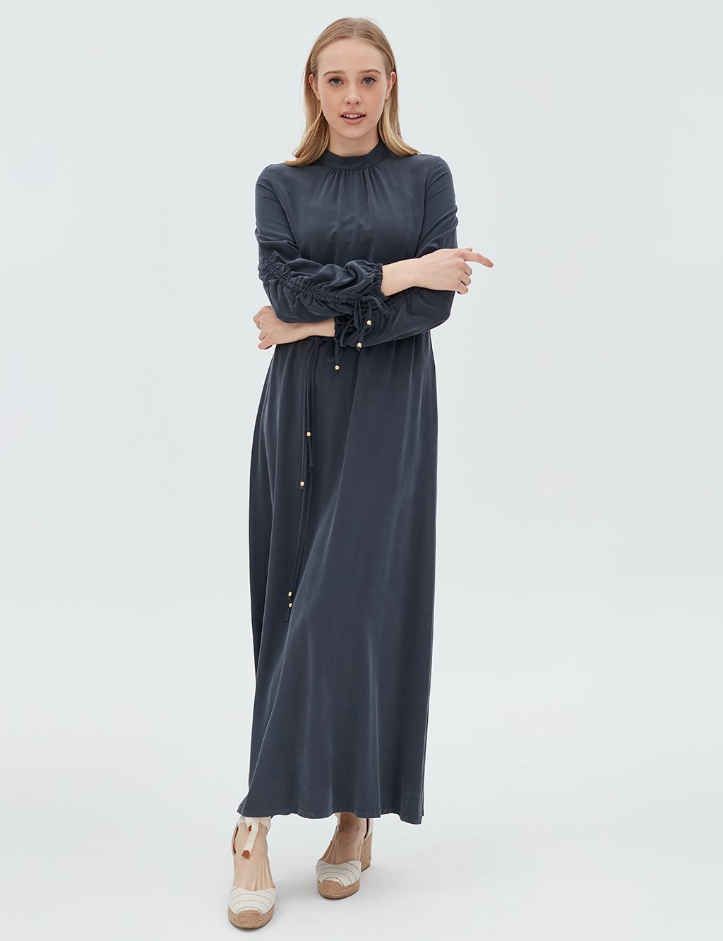 Ruched Sleeve Dress B20 23014 Navy