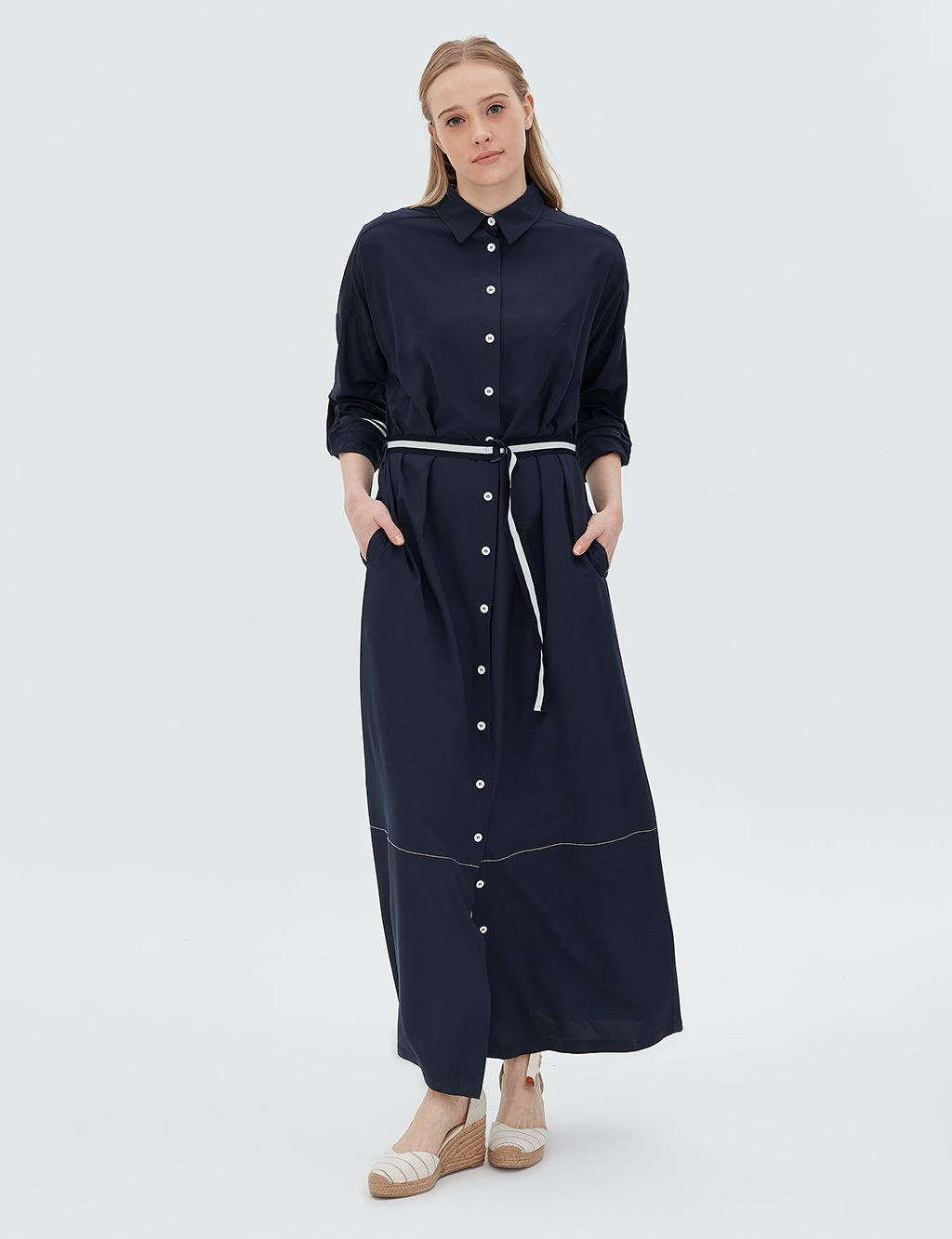 Detailed Dress With Belt B20 23027 Navy